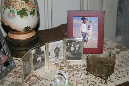Photos in Gran's living room