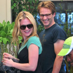 Anna Paquin and Stephen Moyer picking flowers in Venice