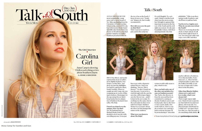 Anna Camp featured in Garden and Gun Magazine The Vault