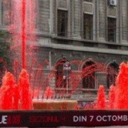 True Blood Marketing Team Turns Romanian City Fountain Blood Red