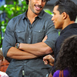 Photos of Joe Manganiello while being interviewed by EXTRA