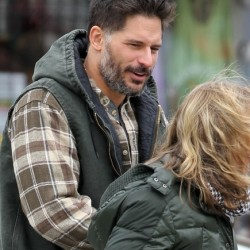 "Joe Manganiello on the set of ""Tumbledown"""