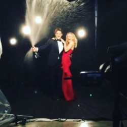 Stephen Moyer and Anna Paquin shower in champagne