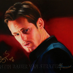 Auction of Alexander Skarsgård oil painting by Kristin Bauer