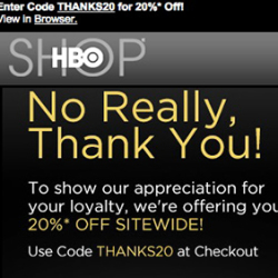 "The HBO Shop says ""Thank You"" with special 20% off Sale"