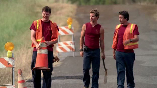 Jim Parrack in a scene with Ryan Kwanten and Michael Raymond James