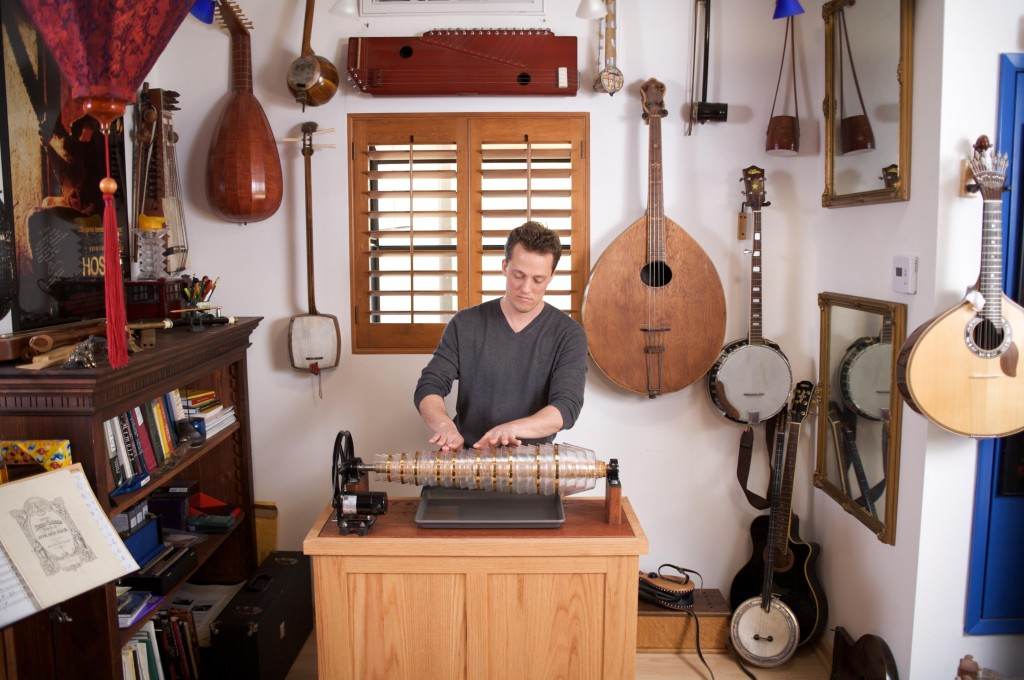 Nathan Barr in his studio