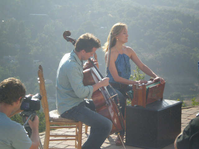 Nathan Barr and Lisbeth Scott at the video shoot for Take Me Home on August 17