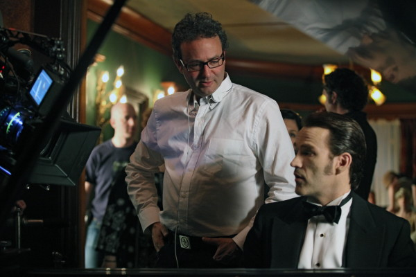 Michael Lehmann on the set of True Blood with Stephen Moyer