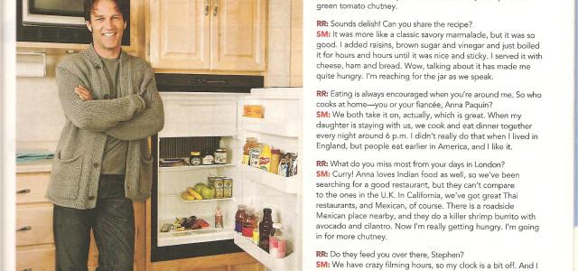 Stephen Moyer has chutney, marmite and Grammy Pickles in his fridge