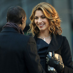 "Dawn Olivieri on Location in NYC for ""House of Lies"""