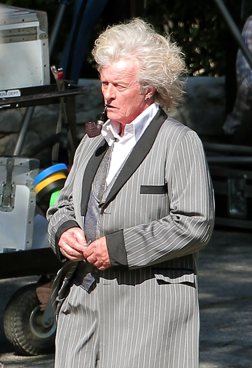 Rutger Hauer guest stars on the set of True Blood along side full time True Blood star Ryan Kwanten in Los Angeles
