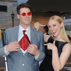 "Deborah Ann Woll and E.J. Scott attend the ""Daredevil"" premiere"